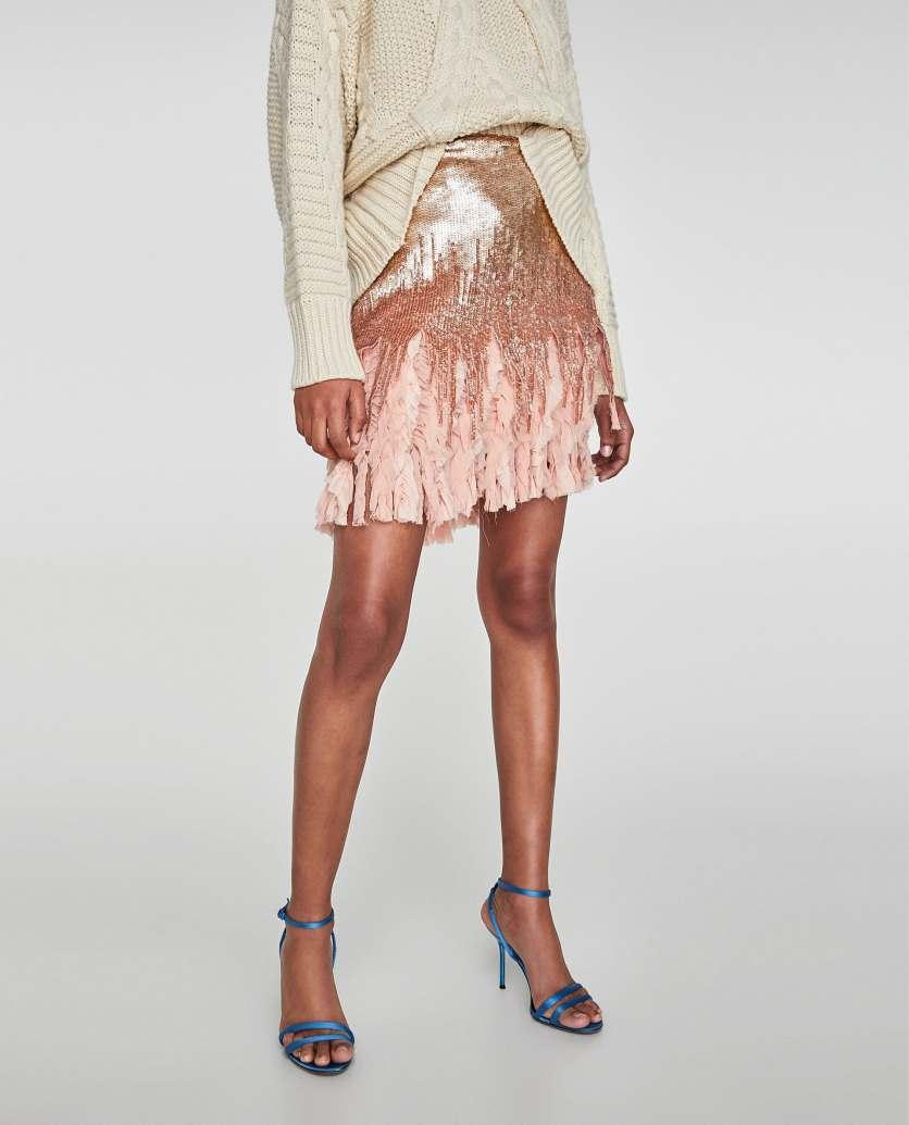 Contrasting Sequinned Mini Skirt