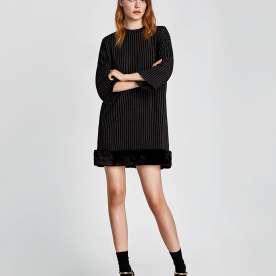 Striped Dress with Faux Fur Hem
