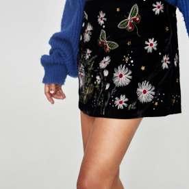 Embroidered Velvet Mini Skirt